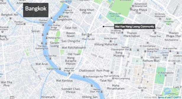 Aerial photograph of Wat Kae Nang Leong community in Bangkok (Source: Carto)