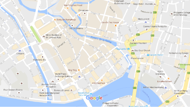 Map of Escolta Santa Cruz neighborhood, centered around the Sta. Cruz Church (source: Google Maps)