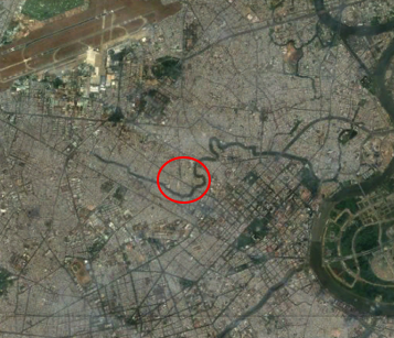 Aerial photograph of Wards 13 and 14, around Tân Hoà church, a landmark in this catholic neighborhood (Source: Google Maps)